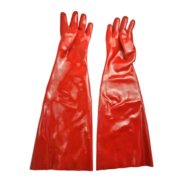 Red PVC coated gloves smooth finish 60cm