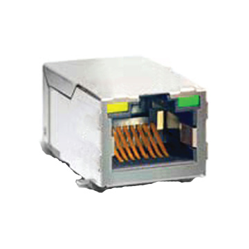 RJ45 KONEKTORY W / LED VÝROBEK SHIELDED SMT