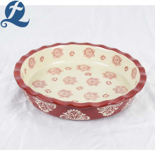 Ceramic Baking Tray Fancy Printed Round Lace Bakeware With Binaural