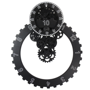 Big Gear Wall Clock Black