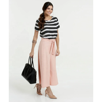 Lady horizontal striped top blouses in summer