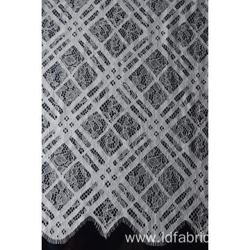 100% Nylon White Beautiful Panel Lace Fabric