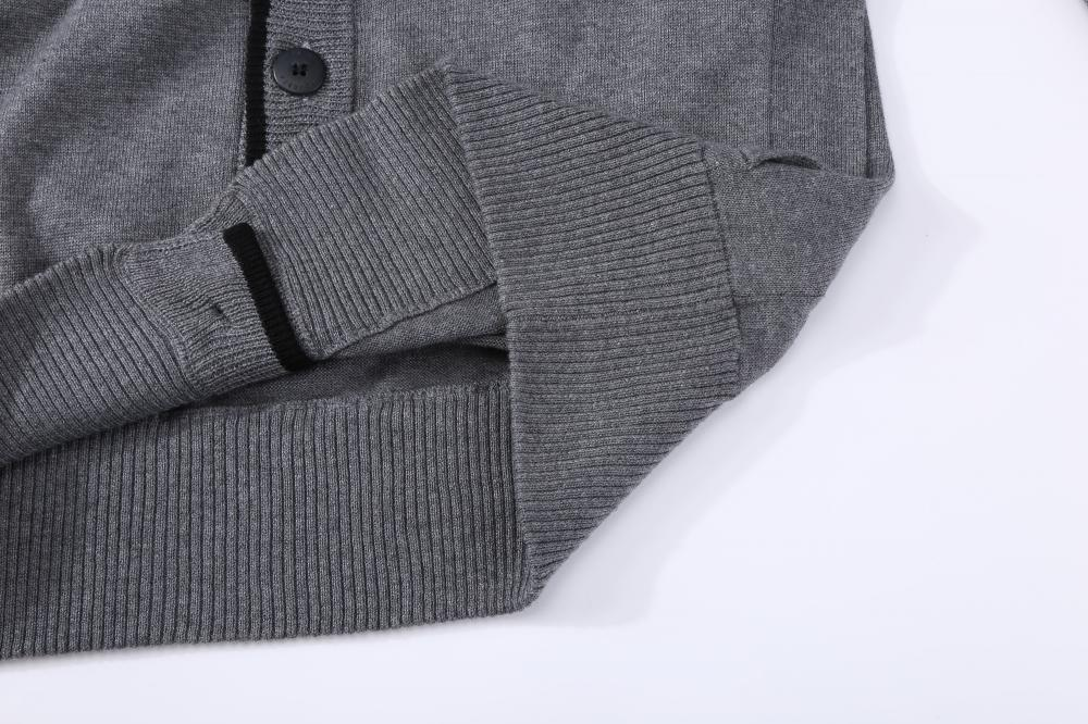 Men's Knitted Buttoned Contrast Placket Cardigan Hoodie