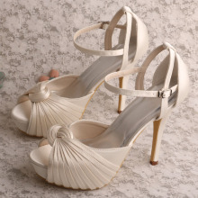 Wedopus Ivory Sandals for Wedding with Platform