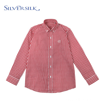 Red Plaid Casual Checked Boys Long Sleeve Shirts