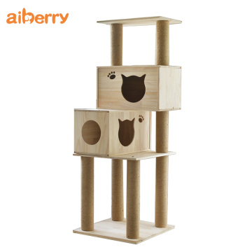 Deluxe Foldable Sisal Wooden Cat Climbing Tower Tree