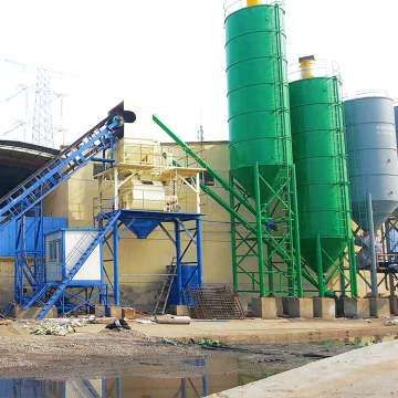 Small stationary simple HZS60 concrete mixing plant