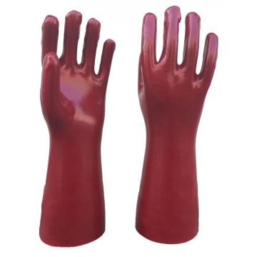 Red PVC gloves smooth finish interlock liner 16""