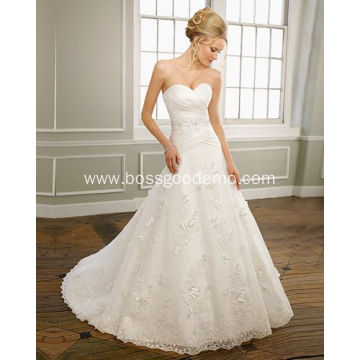 A-line Sweetheart Strapless Satin Organza Lace Chapel Train Beading Ruffled Wedding Dress
