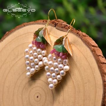 GLSEEVO Handmade Original Design Natural Fresh Water Dangle Earrings For Women Leaf Grape Drop Earrings For Women Jewelry GE0917