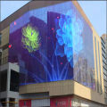 Transparent glass led screen behind window
