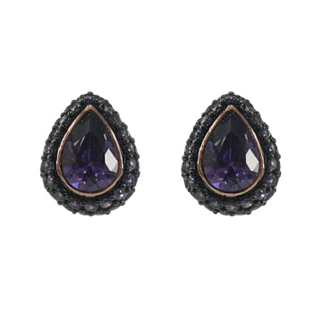 Fashion Teardrop Stud Earrings with Amethyst CZ