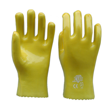 Yellow PVC coated gloves cotton linning
