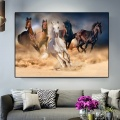 Five Running Horse Poster Wild Animals Oil Painting on Canvas Posters and Prints Wall Art Picture for Living Room Unframed