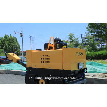 Walk behind 800Kg double drum hydraulic vibratory mini road roller FYL-800C