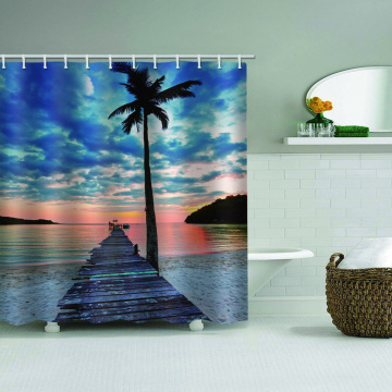 Tropical Style Waterproof Shower Curtain Beach Coconut Tree Wooden Bridge Nature Bathroom Decor