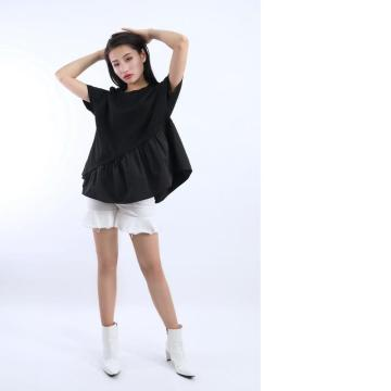 LADIES FRILLED SHORT SLEEVE T-SHIRT