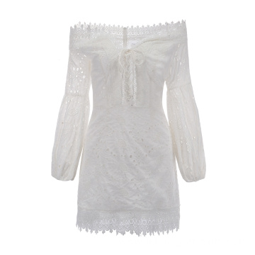 Women Puff Sleeve Shoulder Off Lace Embroidery Dress