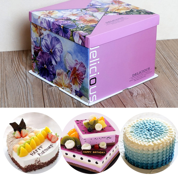 Square elegant birthday cake box