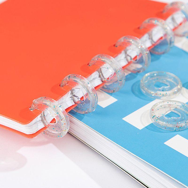 20pcs Glitter Sequin Heart Binder Rings Mushroom Hole Loose Leaf Notebook Binding Plastic Disc Buckle Hoop DIY