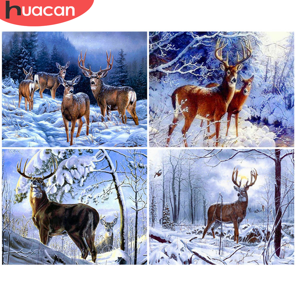 HUACAN Oil Painting By Number Deer Hand Painted Paintings Gift DIY Pictures By Numbers Animal Kits Drawing On Canvas Home Decor