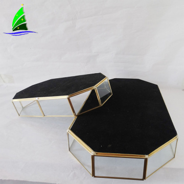 Geometric glass copper terrarium wholesale Glass Plant Pots