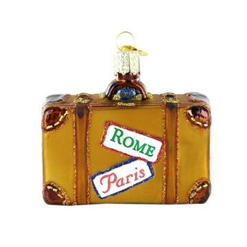 Personized Shape Suitcase Shaped Glass Place Card Holder Ornament
