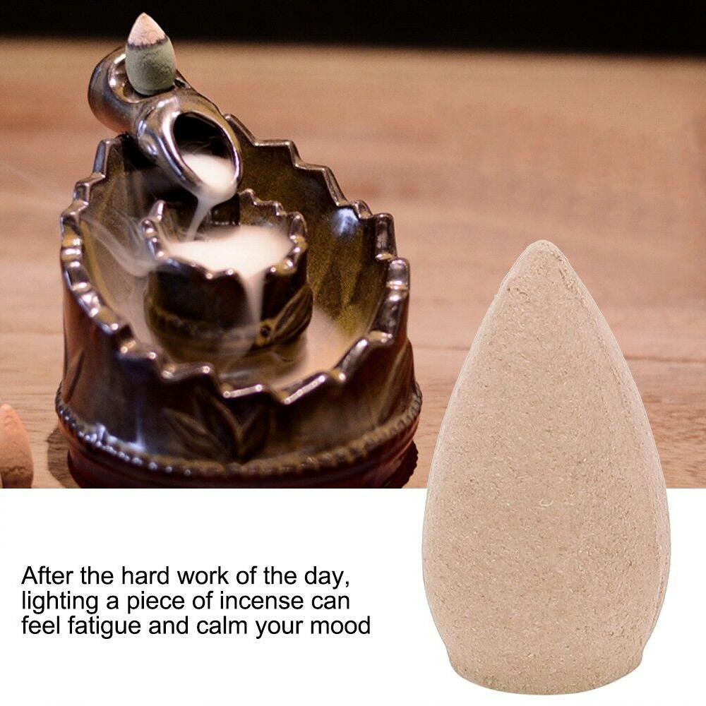 20 Pcs Natural Sandalwood Backflow Incense Indoor Tower Aroma Purifying Freshener Incence Cones for Incense Burner Holder