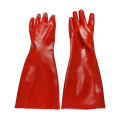 Red PVC coated gloves polyster linning 18''