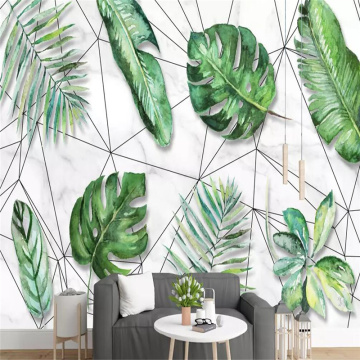 Decorative wallpaper series Nordic style of small fresh tropical rainforest banana leaf geometric line background wall
