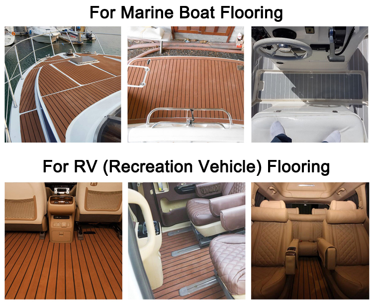 EVA Synthetic Teak Boat Sea CNC Deck Flooring  Recreational Vehicle Decking