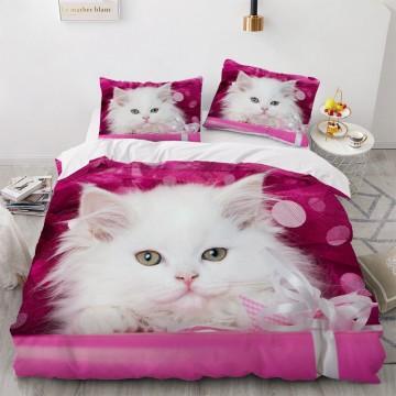 3D Bedding Sets Red Duvet Quilt Cover Set Comforter Bed Linen Pillowcase King Queen 173*230cm Size Dogs Pet Dog Cat Design