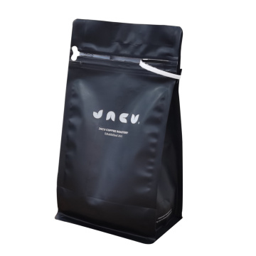 Customized black box bottom recyclable coffee bag with valve