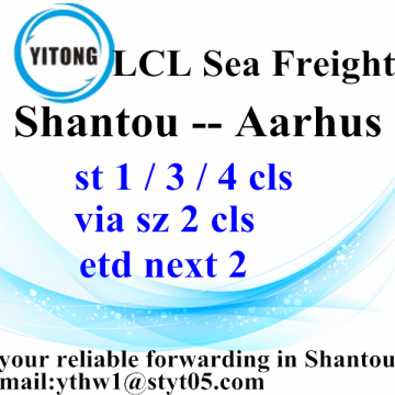 Shantou LCL Ocean Shipping Forwarder to Aarhus