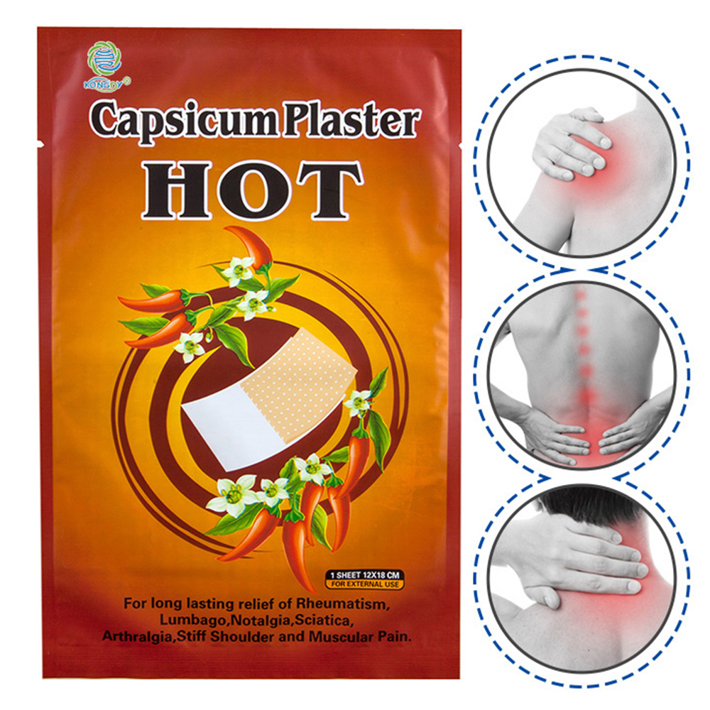 KONGDY 50Pieces Hot Capsicum Plaster Body Pain Relief Patch Neck Pain Relieving Pad 12x18cm Medical Herbal Plaster