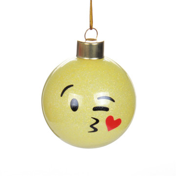 Emoji Glass Christmas Ball Ornament