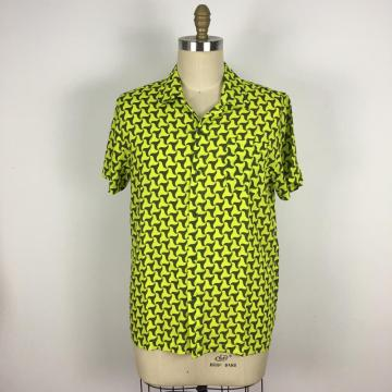 Casual Loose Fit triangle pattern yellow Shirt