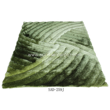 Silk shaggy with 3D design carpet