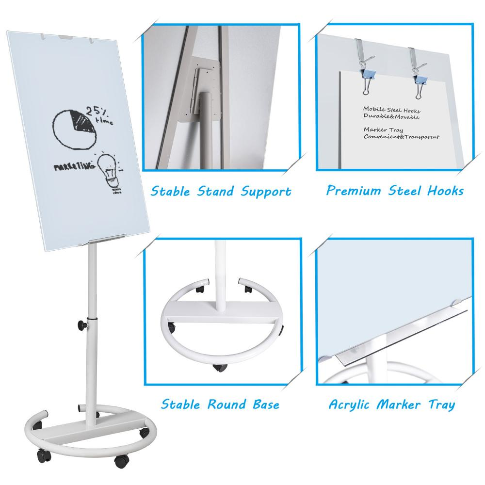Adjustable in Height Glass Flipchart
