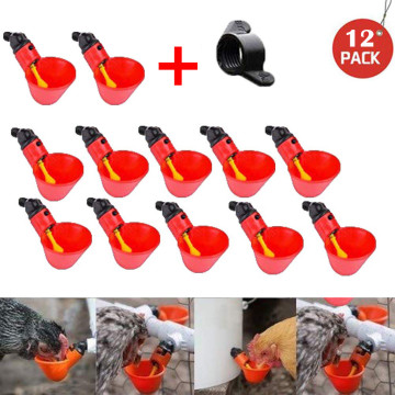 12Pcs Feed Automatic Bird Coop Poultry Chicken Fowl Drinker Water Drinking Cups Livestock Drinking Cup Feeding Watering Supplies