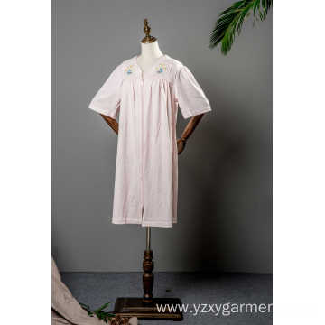 Cotton short sleeve long robe with embroidery