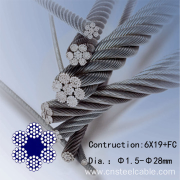 6X19+FC Dia.2.0mm to 10mm Galvanized steel wire rope
