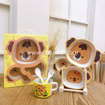 5 Piece Cute Bamboo Koala Dinnerware Set