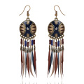 Wholesale Beaded Style Beach Gilded Hoop Feather Earrings