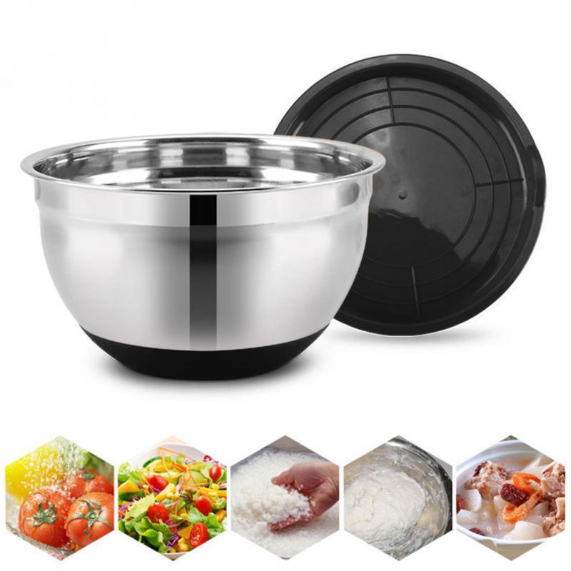 1pc 20CM Anti-scald With Lid Non-Slip Stainless Steel Kitchen Utensil Easy Clean Bowl