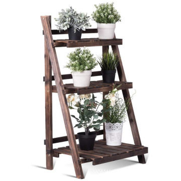 3 Tier Folding Wooden Plant Stand With Pot Shelf Stand Display Rack For Indoor Outdoor Garden Greenhouse