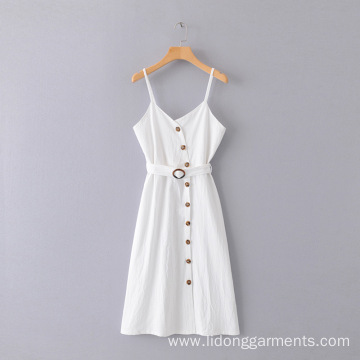 Women White Loose Solid Color Dress Long Dress