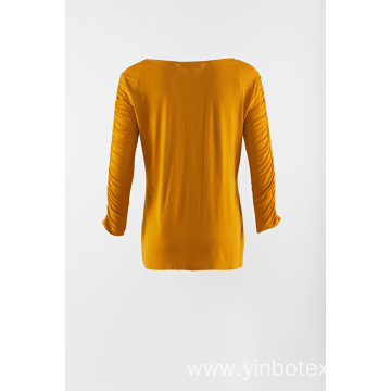 Yellow solid long sleeve knitting pullover