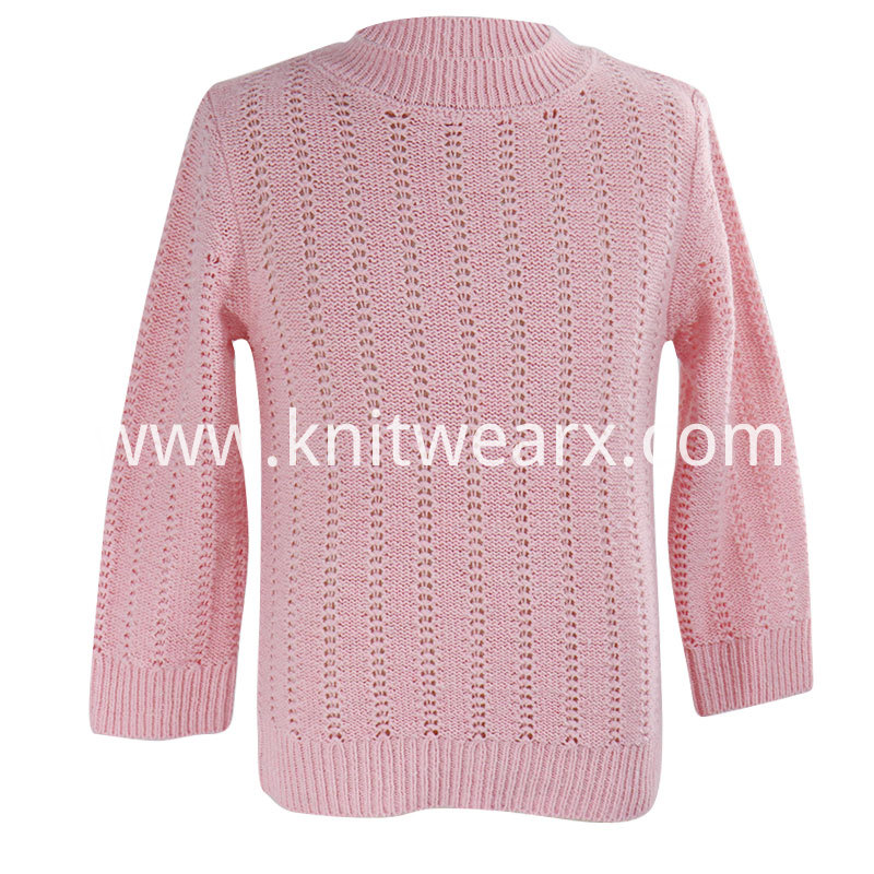 Girl's Knitted Smart Mockneck Pullover Hollow Out Casual Sweater