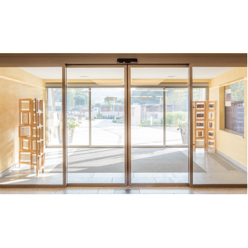 Automatic slide sensor door with glass